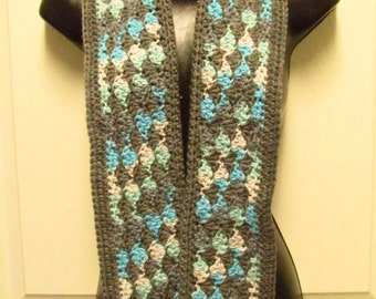 Gray, Blue, and White Scarf