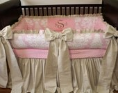 Breathable Innovative Safe Baby Crib Bedding Set Bumper Pink Damask Linen Sparkle Shine Patent Pending