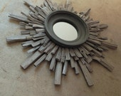 Small Sun-Bleached Gray Stained Starburst Mirror, Costal Wall Art, Starburst Sunburst MADE to ORDER