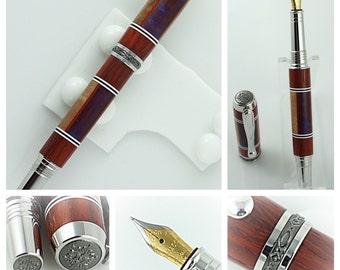 Custom Wooden Pen Custom Fountain Pen Beautiful Curly Maple, Padauk and Acrylic Segmented Rhodium and Black Titanium Hardware 813FPA