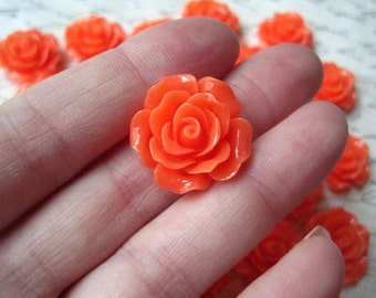 Resin Rose Flower, 6 pcs 20mm Bright Coral Resin Flower Cabochon, Perfect for Bobby Pins, Rings, Earrings