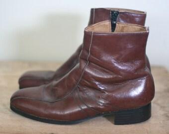vintage nunn bush brown leather ankle boots mens size 9E
