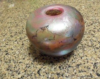 Glass Vase/Art Nouveau Style/Art Glass/Edward Roman/Iridescent Purple Green Crystal Glass/Studio Art/Circa 1980/Canada/Collectible/