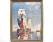Vintage Framed Ship Picture - Wooden Frame - Wall Decor