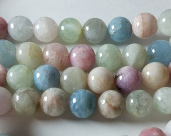 5mm-6mm Multicolor Blue Aquamarine , Pink Morganite , Green Beryl Smooth Round Beads Strand 5mm - 6mm