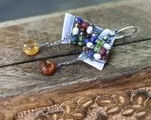 Rustic Asymmetrical Sterling Silver *Alegria,Alegria* Series earrings n99 -  artisan earrings . mixed gemstones . sterling silver earrings
