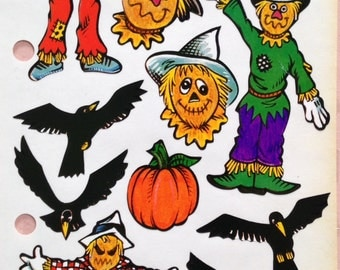 Halloween scarecrow stickers,crows, and more