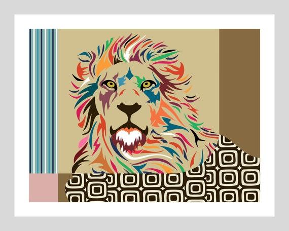 Lion art print poster peinture animaux sauvage art par - Poster peinture ...