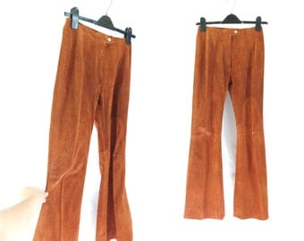 Vintage 1970s Tan Rust Red Brown Flares Flared Trousers Bellbottoms Hippy Hippie Festival - Size 8 10UK  6US