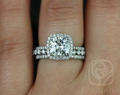 Catalina 7.5mm & Petite Bubble Breathe Platinum FB Moissanite and Diamonds Halo TRIO Wedding Set (Other metals and stone options available)