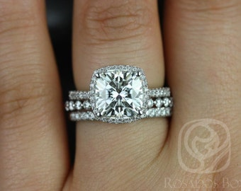 Rosados Box Brandi 9mm & Petite Naomi 14kt Cushion F1- Moissanite and Diamonds Halo TRIO Wedding Set (Other options available)