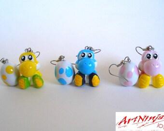 Yoshi earrings, One Yoshi + one Egg