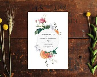 Vintage Botanical Wedding Invitations Wedding Stationery Floral Flowers Custom Made Botanicals Clover Blossoms Pretty