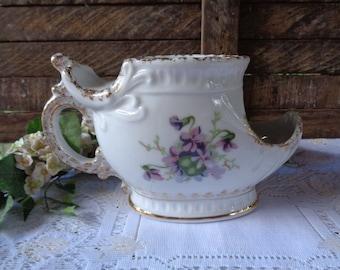 Antique Shaving Scuttle Mug Porcelain Collectible Vanity Purple Violets Flower Bouquet Victorian Country Cottage Bathroom