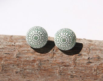 Adorable Green and White Mosaic Stud Earrings Made with Vintage Etched Cabochons