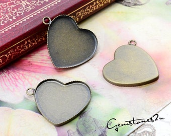 10pcs Antique Bronze 25mm Brass Heart Cameo Base Setting Pendant