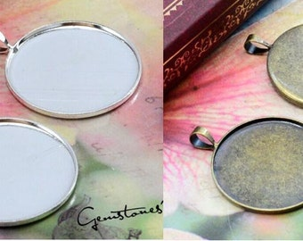 10pcs 2 Colors--Bronze / Silver 25mm Brass Round Cameo Base Setting Pendant