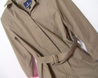 Women's Petite London Fog Trench Coat Overcoat With Removable Hood Size 10 Petite
