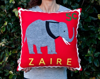 Zairian elephant stamp cushion cover