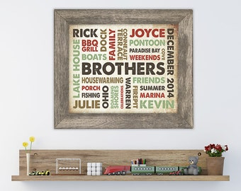 11x14 Wood Print with Barn Wood Frame featuring Your Words, Your Colors, Your Story - Great for Family, Wedding & Baby