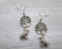 Odin's Ravens, Odin Earrings, Norse god Odin, Odin jewelry, Yggdrasil earrings, World Tree earrings, Munin hugin earrings, Raven earrings
