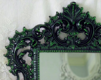 Gothic Wall Mirror Black Lacquer Green Accents Ornate Frame Vintage Victorian Décor