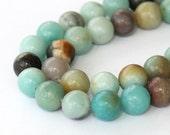 Amazonite Beads, Multicolor, 10mm Round - eGR-AZ001-10