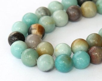 Amazonite Beads, Multicolor, 8mm Round - eGR-AZ001-8
