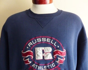 vintage 90's Russell Athletic EST. 1902 navy blue crew neck fleece graphic sweatshirt oxblood grey embroidered applique circle logo large