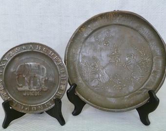 Vintage Tin Children's ABC Plates, Early Embossed Tin ABC Plates, Pair Of Children's Tin Plates