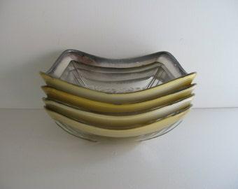 Vintage GEORGES BRIARD BOWLS/Salad Dishes/Silvertone Bowls/Georges Briard Glassware/Flower Design Bowls/Goldtone Bowls/Elegant Serving Bowls