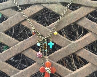 Jasper cross on a chain