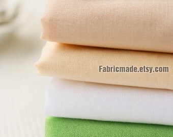 Light Cotton Fabric, Soft Fine Cotton, Plain Solid Nude Peach White Green Black Cotton - 1/2 yard