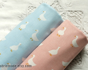 Kids Fabric, Light Pink Blue Green Cotton With White Goose Birds Cotton Fabric - 1/2 yard