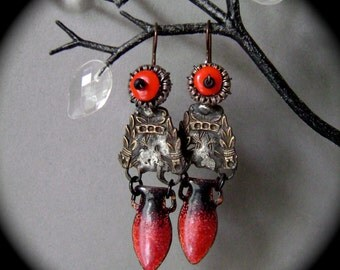 Urns, The Ancient Hoard Series, mixed metal jewelry, mid century enamel earring, rustic primitive, rocker, filigree earring, AnvilArtifacts