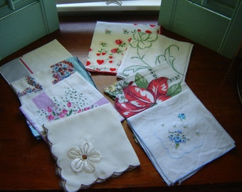Vintage handkerchiefs collectible  8 pc set fashion accessory gift memento wedding decor tea party decor cotton