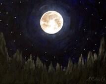 Fine Art Painting, Night Sky Painting, Moonlight, Full Moon, Moonlight Painting, Full Moon Painting