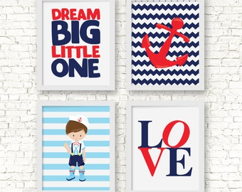 Nautical kids wall art, dream big little one, nautical nursery art, sailor decor,  anchor decor, boy nautical bedroom art, BE-4017