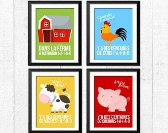 A la ferme à mathurin, imprimés de la ferme, animaux de la ferme, décoration ferme, imprimés pour chambre enfants, décoration chambre bébé