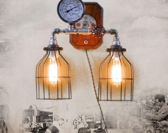 Steampunk'd Wall Sconce, Lighting, Industrial Art, MasterGreig, Gauge, Pipes, MG-008