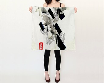 Silk Scarf - Japanese Silk Scarf - Sqaure Scarf - Fashion Scarf - Gift for her - Accessory - Black and white Scarf - Japanese Scarf