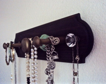Bohemian Jewelry Organizer - Wooden Wall Necklace Holder - Decorative Jewelry Display Hanger - Modern Bohemian - Gypsy Boho Decor