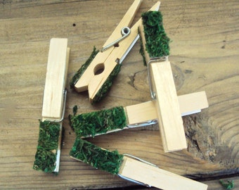 Set of 5 Moss Tipped Clothespins - Rustic Woodland Decoration - Woodsy Card Holders - Decorative Clothespins - Moss Decor - Photo Holder