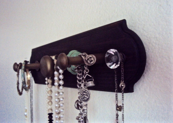 Decorative Wall Mirror Jewelry Organizer : Bohemian jewelry organizer wooden wall necklace holder
