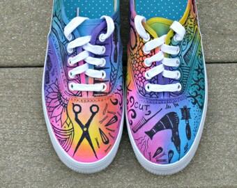 Zentangle sneakers, shoes, sneakers, custom sneakers, zentangle art, original art, OOAK, womens sneakers, handpainted, salon theme