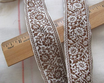 White Brown Embroidered Woven Floral Trim Edge  - 1.25 Inch Wide - 2 Yards - Original Vintage 1970s