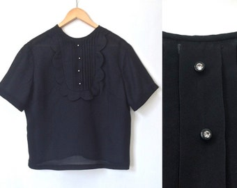 Bib Top With Glass Buttons - Black Vintage Blouse - Mod - 50s 60s Blouse - Large
