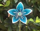 Aqua Origami Paper Flower with Stem // Origami Flower/Kusudama Flower Bouquet/ Flower Arrangement/ Baby Shower/ Nursery/ Centerpiece