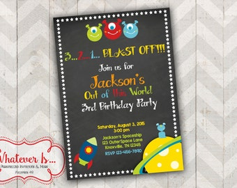 Out Of This World Space Birthday Invitation