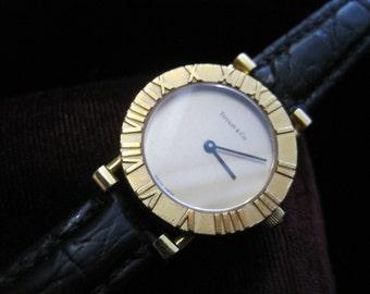 Tiffany & Co Atlas 18k Gold Watch Vintage Women's Wristwatch Leather Strap Round Roman Numerals Gold Dial Eighteen Karat Designer Original